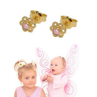 Mädchen Blumen Kinder Ohrstecker Zirkonia pink Ohrringe Silber 925 vergoldet