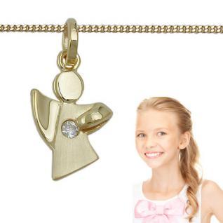 Kinder Frauen Zirkonia Schutz Engel Anhänger mit Kette Echt Silber 925 vergoldet