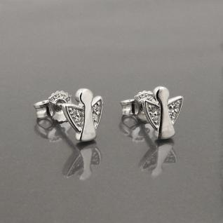 Frauen Mädchen Schutz Engel Ohrstecker Kinder Ohrringe Zirkonia Echt Silber 925