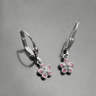 Mädchen Blumen Ohrringe Zirkonia Ohrpendel farbig rosa pink Ohrhänger Silber 925