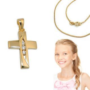 Erst- Kommunion Premium Zirkonia Kreuz Anhänger mit Kette Silber 925 vergoldet