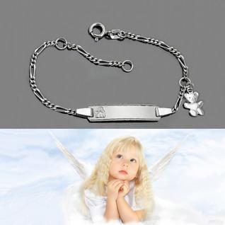Baby Taufe Engel Armband Gott schütze Dich Echt Silber 925 Teddy Bär mit Gravur