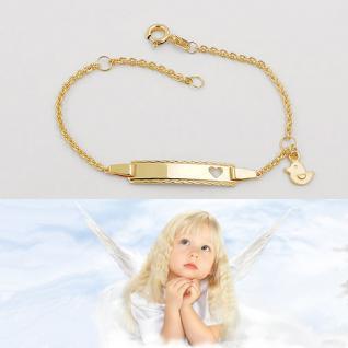 Baby Taufe Herz Ident Armband mit Ente Anhänger und Gravur Name Datum Gold 333