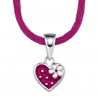 Erdbeere Herz Echt Silber 925 mit Textilband - Vorschau