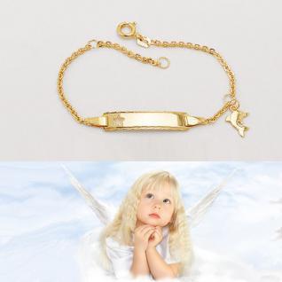 Baby Taufe Stern Ident Armband mit Delfin Anhänger + Gravur Name Datum Gold 333