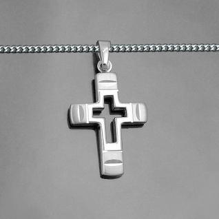 Männer Frauen Kinder Kreuz Anhänger aus Echt Silber 925 mit Kette Länge wählbar - Vorschau 2