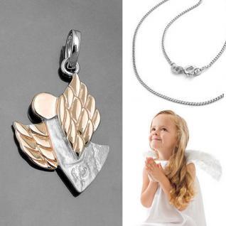 Schutz Engel Anhänger mit Flügel Struktur und Kette Echt Silber 925 Rosègold Neu
