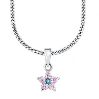Zirkonia Stern Blume Anhänger mit Kette Silber 925