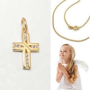 Kinder Kreuz Anhänger Zirkonia Taufe - Kommunion Silber 925 vergoldet mit Kette