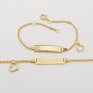 Baby Taufe Engel Armband Herz Gott schütze Dich Echt Gold 333 mit Namen Gravur - Vorschau 2