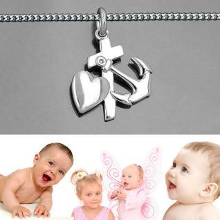 Glaube Liebe Hoffnung Symbol Anhänger mit Kette Länge wählbar Echt Silber 925