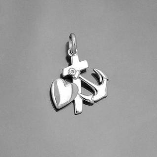 Glaube Liebe Hoffnung Symbol Anhänger mit Kette Länge wählbar Echt Silber 925 - Vorschau 2