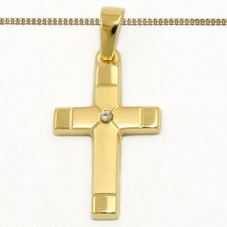 Gold 585 Diamant 0, 01 Brillant Kreuz Anhänger Taufe Kommunion mit Silber Kette