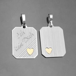 1 Gravur Kette Ich liebe Dich Anhänger goldenes Herz Name Datum Echt Silber 925 - Vorschau 3