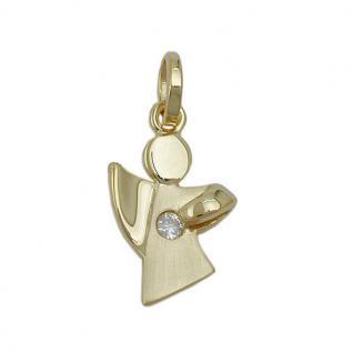 Kinder Frauen Zirkonia Schutz Engel Anhänger mit Kette Echt Silber 925 vergoldet - Vorschau 2