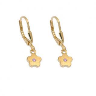 Mädchen Ohrringe Blumen Kinder Ohrhänger Blume Hänger pink Silber 925 vergoldet