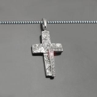 Frauen Kinder Kommunion Stein Kreuz Silber 925 Anhänger mit Vario Kette 42-40 cm - Vorschau 2