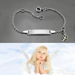 Baby Taufe Engel ID- Armband Glücks Klee Gott schütze Dich Silber 925 mit Gravur