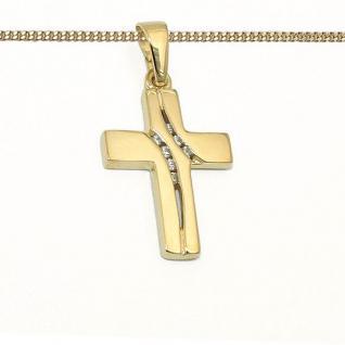 Gold 333 Zirkonia Kreuz Anhänger Kinder Kommunion Baby Taufe + Kette Silber 925