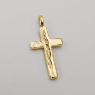 Kinder Kreuz Anhänger Zirkonia zur Kommunion mit Kette Echt Silber 925 vergoldet - Vorschau 2