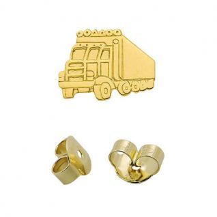 1 Männer LKW Lastwagen Ohrstecker Laster Herren Truck Ohrring Echt Gold 333 Neu