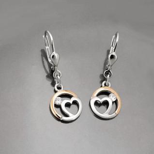 Frauen Mädchen Ohrringe Herz mit Zirkonia Ohrhänger Hänger Silber 925 Rosè Gold
