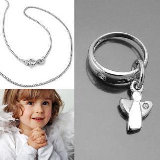 Baby Taufe moderner Schutz Engel mit Zirkonia Taufring Echt Silber 925 und Kette
