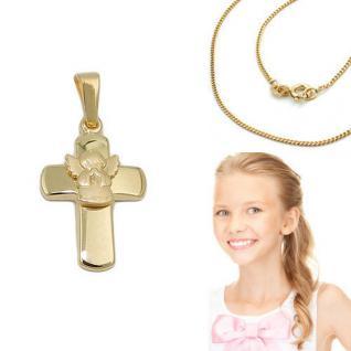 Echt Gold 333 betender Engel Kreuz Anhänger Kinder Taufe Kommunion +Silber Kette