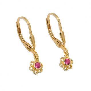 Mädchen Blumen Ohrhänger Kinder Zirkonia rosa rot Ohrringe Silber 925 vergoldet