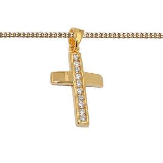 Kinder Kommunion Premium Zirkonia Kreuz Anhänger mit Kette Silber 925 vergoldet - Vorschau 2