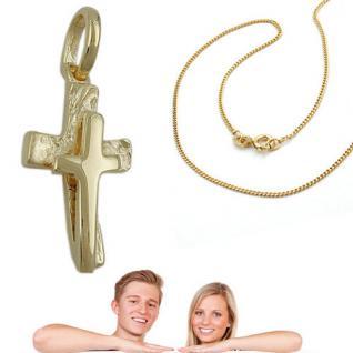 Juwelier Kreuz auf Kreuz Anhänger Taufe Kommunion mit Kette Silber 925 vergoldet