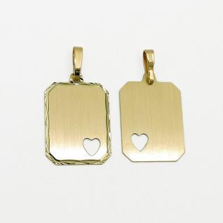 Gravur Anhänger mit Herz Echt Gold 333 8 Kt mit Name Datum und Silber 925 Kette
