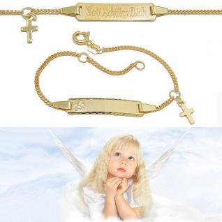 Gott schütze Dich Echt Gold 333 Schutz Engel Kreuz Ident Armband mit Gravur Name