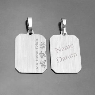 chinesische Schrift Ich liebe Dich Gravur Anhänger Name und Datum Silber 925