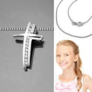 Baby Taufe Kinder Kommunion Premium Zirkonia Kreuz Anhänger mit Kette Silber 925 - Vorschau 2