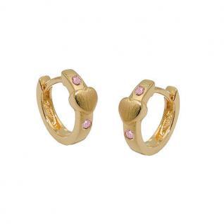 Mädchen Klapp Creolen mit Herz und pink rosa Zirkonia Echt Silber 925 vergoldet