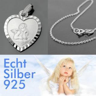 Schutzengel Herz Anhänger mit Kette Silber