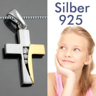 Kinder Kommunion Kreuz Silber vergoldet