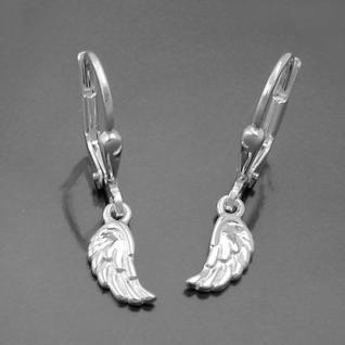Mädchen Ohrringe Engels Engel Flügel Kinder Ohrhänger Hänger aus Echt Silber 925 - Vorschau 2