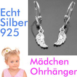 Mädchen Ohrringe Engels Engel Flügel Kinder Ohrhänger Hänger aus Echt Silber 925 - Vorschau 1