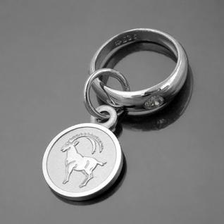 Taufring mit Sternzeichen Steinbock und Schutzengel Echt Silber 925 mit Kette