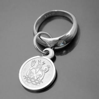 Taufring mit Sternzeichen Wassermann und Schutzengel Echt Silber 925 mit Kette