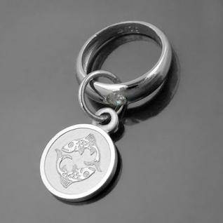 Taufring mit Sternzeichen Fische und Schutzengel Echt Silber 925 mit Kette - Vorschau 1
