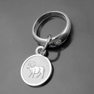 Taufring mit Sternzeichen Widder und Schutzengel Echt Silber 925 mit Kette