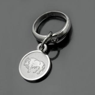Taufring mit Sternzeichen Stier und Schutzengel Echt Silber 925 mit Kette