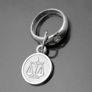 Taufring mit Sternzeichen Waage und Schutzengel Echt Silber 925 mit Kette