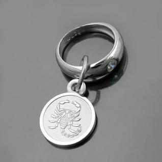 Taufring mit Sternzeichen Skorpion und Schutzengel Echt Silber 925 mit Kette - Vorschau 1