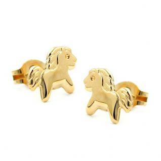 Pony Pferde Ohrstecker Gold 333 - Vorschau 2