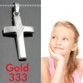 Kinder Kommunion Konfirmation Kreuz Anhänger Weiß Gold 333