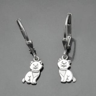 Mädchen Katzen Ohrringe Kinder Ohrhänger Katze Hänger aus Echt Silber 925 rhod. - Vorschau 2